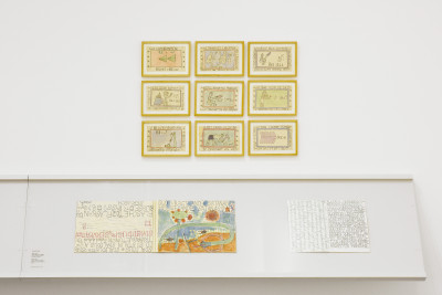 exhibition view of *scrivere disegnando : when language seeks its over*, contemporary art center, genova, switzerland, 2020. - © contemporary art center, genova, christian berst — art brut