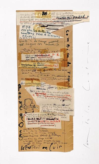 """Manuscrit original de la chanson """"Le fauteuil en cuir"""" - © christian berst — art brut"""