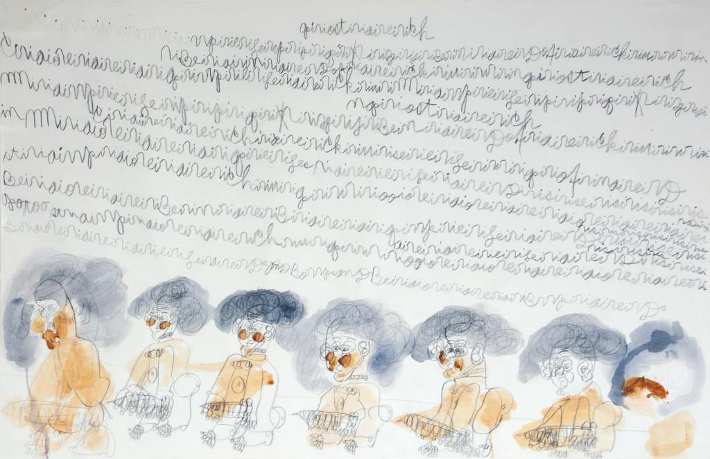 sans titre (giant erotic work), circa 1990. aquarelle et graphite sur papier avec écriture automatique, 46 x 100 cm - © christian berst — art brut