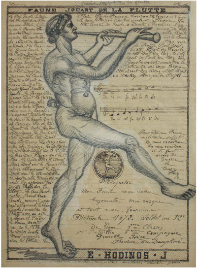faun playing flute (untitled), circa 1890. black ink and graphite on paper , 8.27 x 11.42 in - © christian berst — art brut