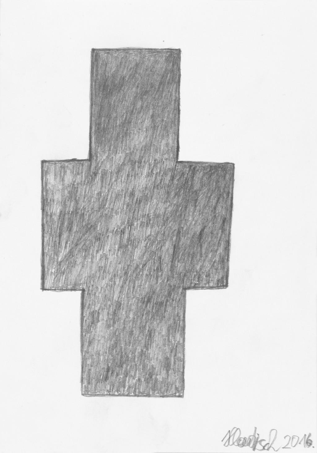 Cross, 2016. graphite sur papier, 21.4 x 15.1 cm - © christian berst — art brut
