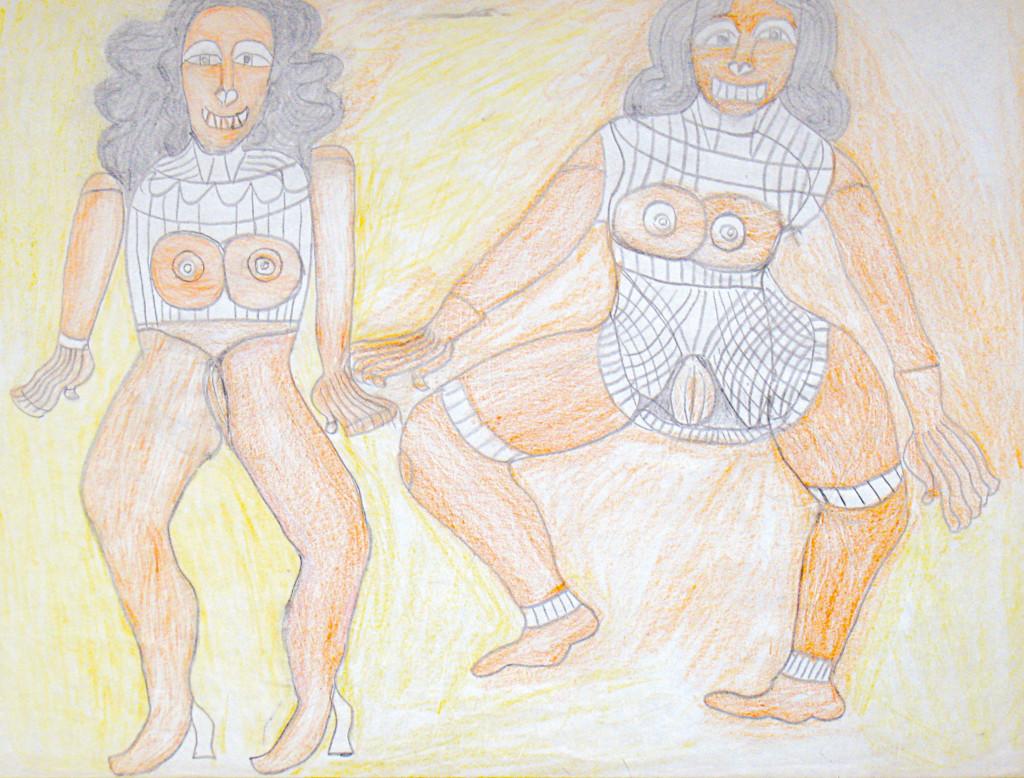 sans titre, s.d. Crayons de couleur & graphite sur papier, 45.5 x 61 cm - © christian berst — art brut