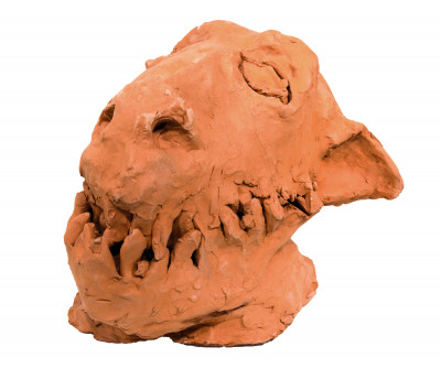 Untitled  (cabeza de hombre lobo) - © christian berst — art brut