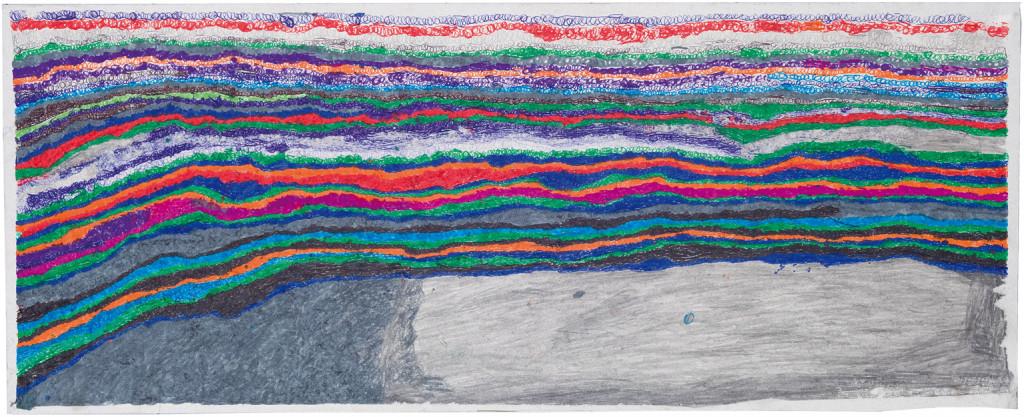 Joseph Lambert, sans titre, 2014. technique mixte sur papier, 28 x 70 cm - © christian berst — art brut