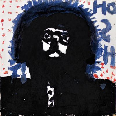 Untitled (black figure with blue writing) - © christian berst — art brut