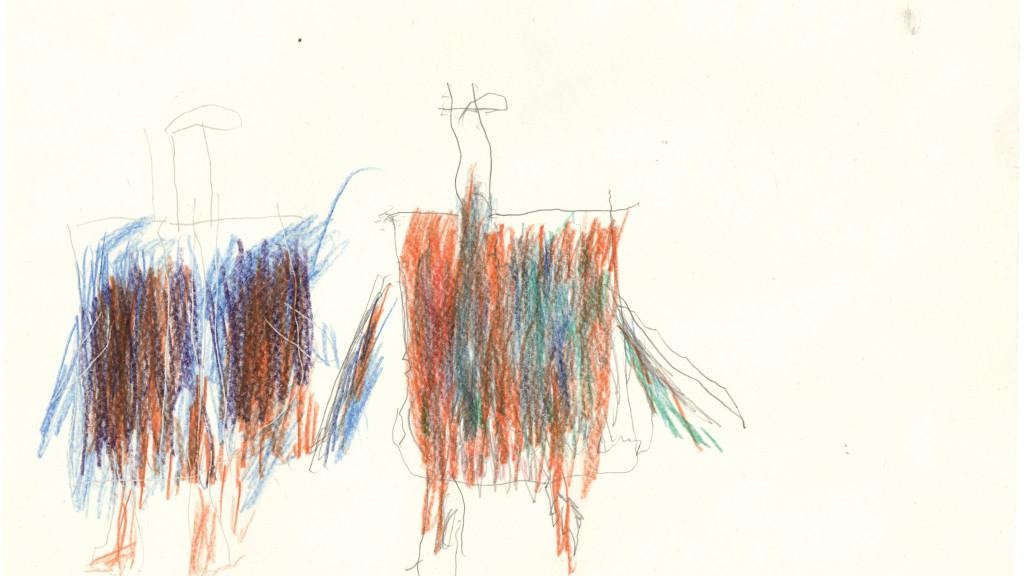 sans titre, circa 1980. crayon de couleur sur papier, 21 x 30 cm - © christian berst — art brut