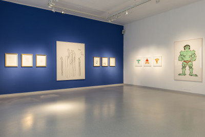 Vue de l'exposition .*..powerful female - delicate male...* Galerie Gugging, Autriche, 2020 - © © Galerie Gugging, christian berst — art brut