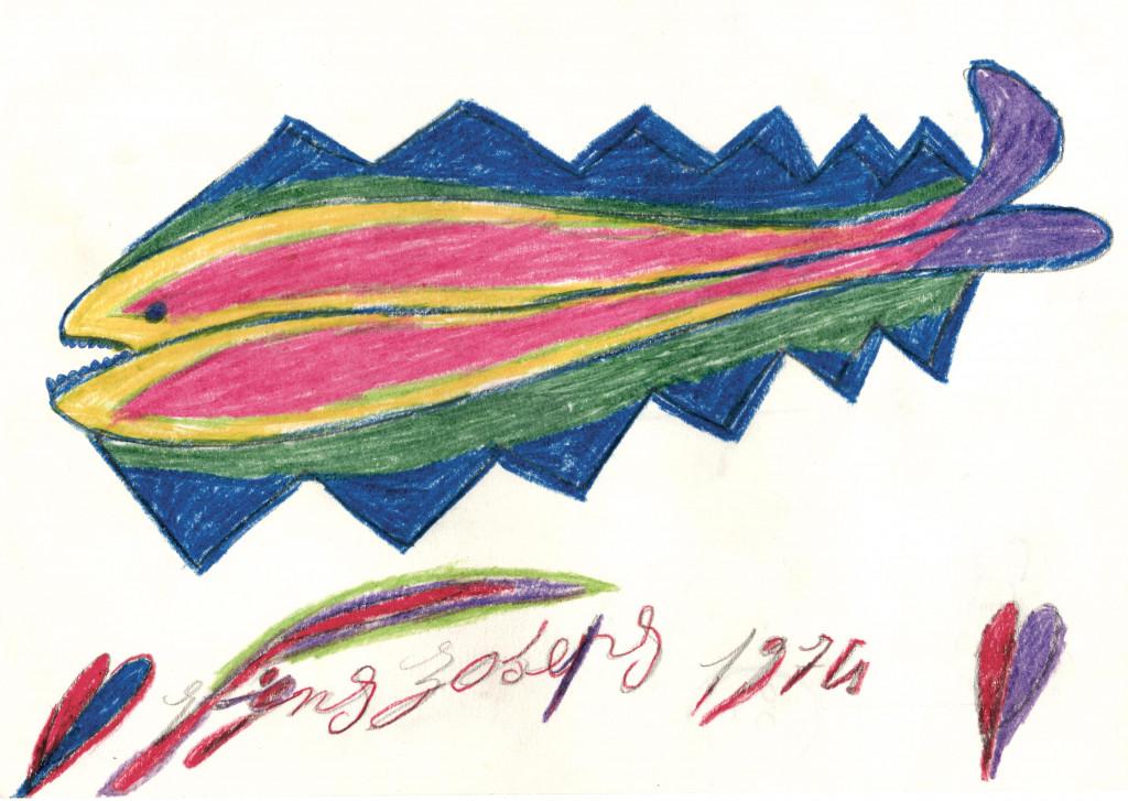 Pépé Vignes, *sans titre*, 1974. crayon de couleur sur papier, 20.9 x 29.8 cm - © ©christian berst art brut, christian berst — art brut
