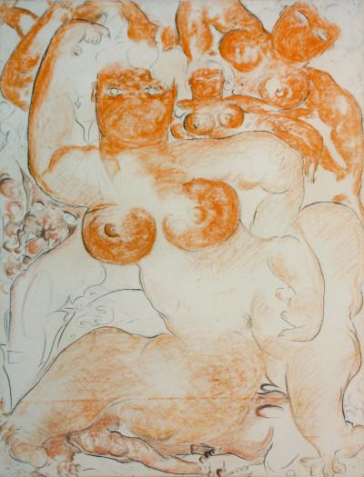 sans titre, 1939. pastel sur papier, 62.5 x 47.8 cm. - © christian berst — art brut