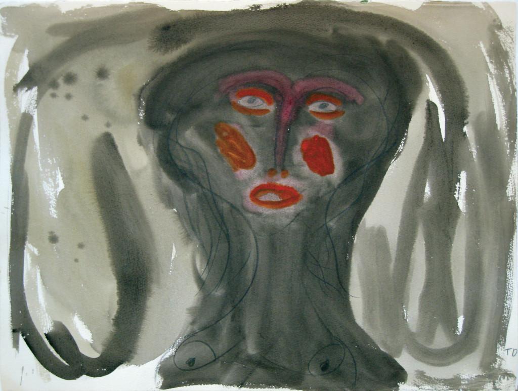 sans titre, circa 1995. aquarelle sur papier , 56.5 x 75.5 cm - © christian berst — art brut