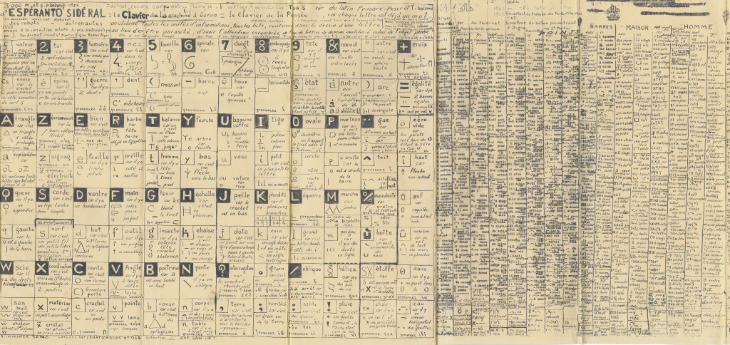 détail of jean perdrizet, *untitled (esperanto sidéral)*, 1962. mixed media on paper, 20.47 x 84.76 in - © christian berst art brut, christian berst — art brut