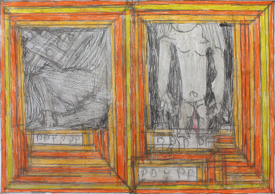 josef hofer, *sans titre*, 2010. crayon de couleur sur papier, 29.6 x 42 cm. - © christian berst art brut, christian berst — art brut