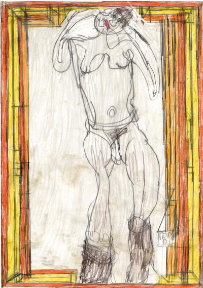 Josef Hofer, *sans titre*, 2008. crayon de couleur et graphite sur papier, 42 x 29.6 cm - © christian berst — art brut