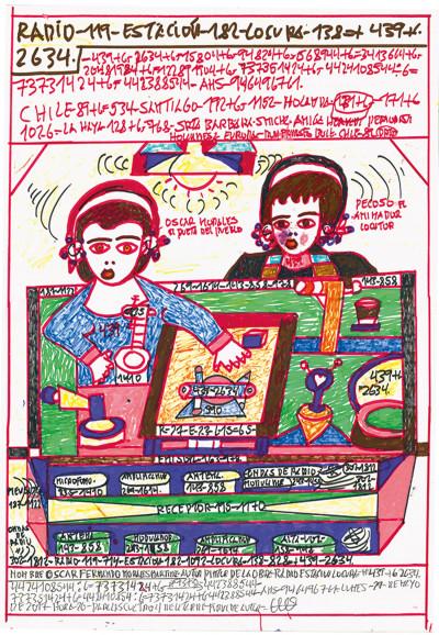 Oscar Morales, *sans titre*, circa 2012. stylo à bille et marqueur sur papier, 53.5 x 37.5 cm - © christian berst — art brut