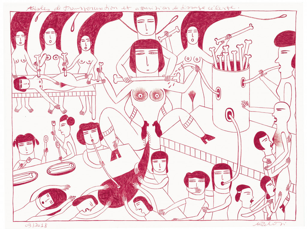 Marilena Pelosi, *sans titre*, 2018. stylo à bille sur papier, 24 x 32.2 cm - © christian berst — art brut