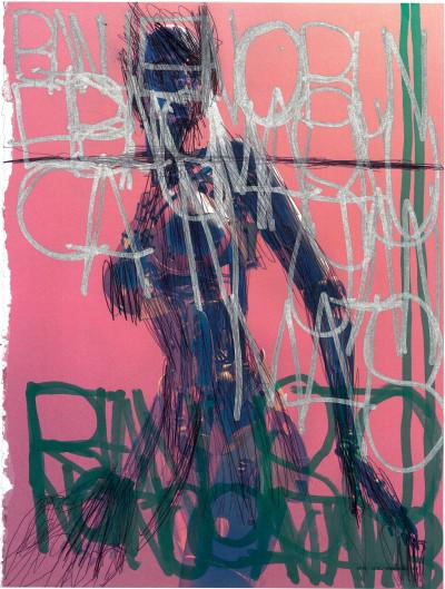 José Manuel Egea, *sans titre*, 2018. marqueur acrylique et stylo à bille sur impression photographique, 26.5 x 20 cm - © christian berst — art brut