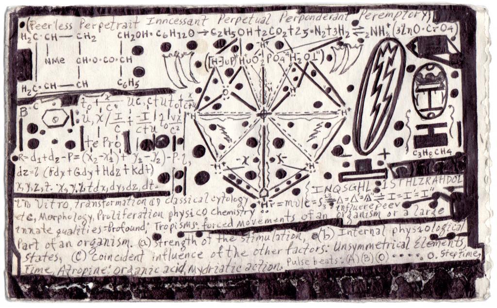 melvin way, *sans titre*, circa 2010. Stylo à bille noir sur papier plié , 10.8 x 17.7 cm. - © christian berst art brut, christian berst — art brut