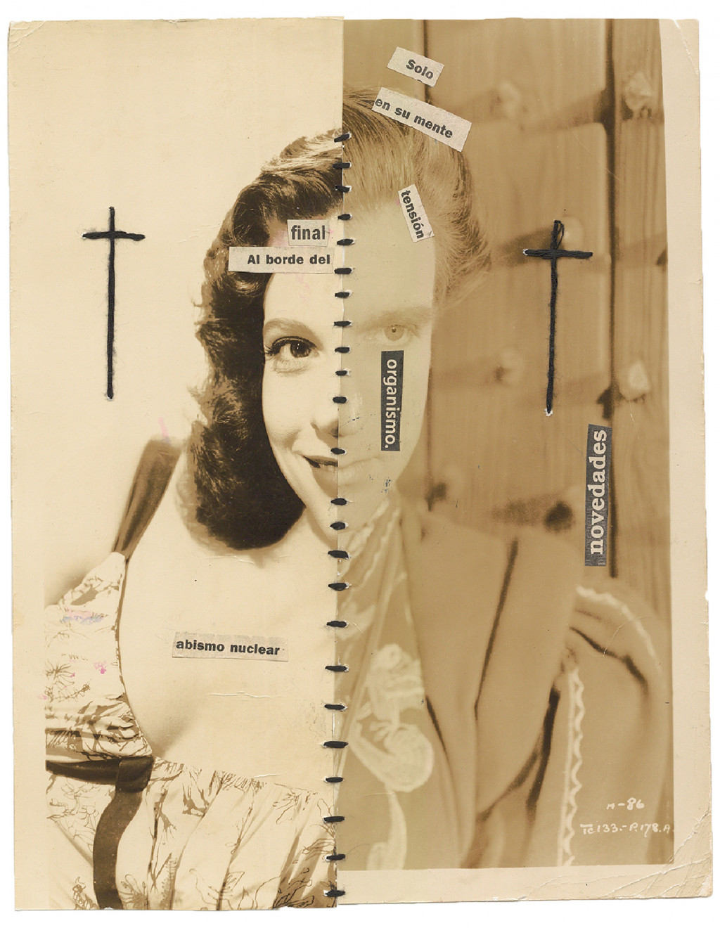 Jorge Alberto Cadi, *untitled*, circa 2015. collage and sewing on photography, 10.91 x 8.54 in - © christian berst — art brut