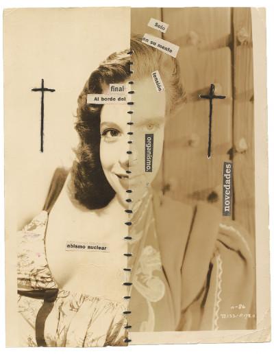 Jorge Alberto Cadi, *sans titre*, circa 2015. collage et couture sur photographie, 27.7 x 21.7 cm - © christian berst — art brut