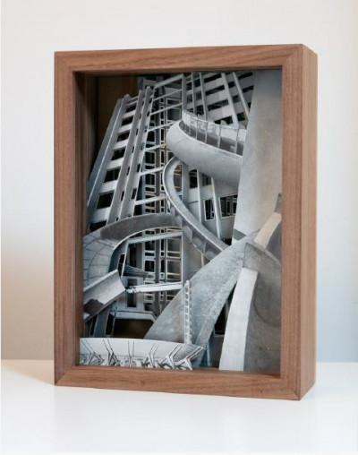 Claudia Larcher, *L'Archittetura no. 32*, 2018, paper collage, wooden frame, 12,9 × 9,8 × 3,5 in, unique piece - © © Claudia Larcher / Courtesy Galerie 22,48m2, christian berst — art brut